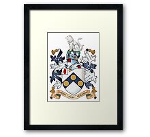 "James Bonds coat-of-arms and family motto ""The world is not enough""  Framed Print"