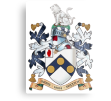 """James Bonds coat-of-arms and family motto """"The world is not enough""""  Metal Print"""