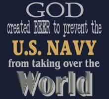 God, Beer & the U. S. Navy for Dark Backgrounds Kids Tee