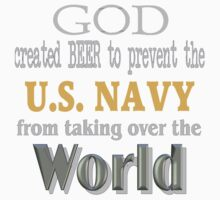 God, Beer & the U. S. Navy for Dark Backgrounds Kids Tee