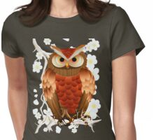 Bright Brown Owl-White Blooms Womens Fitted T-Shirt