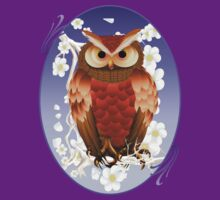 Bright Brown Owl-White Blooms Oval by Lotacats