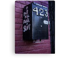 Message to a mail carrier Canvas Print