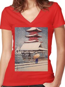 Snow at Temple, Japan Women's Fitted V-Neck T-Shirt