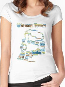 Colourful Steam Train made from Words Women's Fitted Scoop T-Shirt