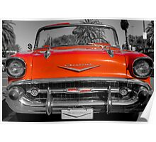 classic red vintage chevvrolet convertible Poster