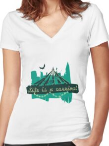 Life is a Carnivale! Women's Fitted V-Neck T-Shirt