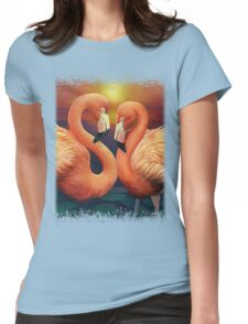 Flamingo Love Womens Fitted T-Shirt