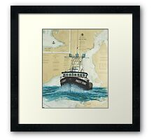 Pacific Dynasty AK Crab Boat Cathy Peek Chart Art Framed Print