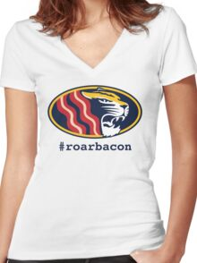 roarbacon Women's Fitted V-Neck T-Shirt