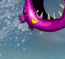 Mad Pink Fish Crazy Jump Sticker