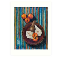 Bosc Pears and Apricots for Elaine Art Print