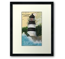 Cape Disappointment Lighthouse WA Map Cathy Peek Framed Print