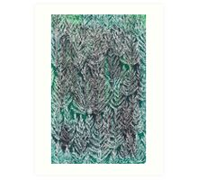 Snow Pines (Dark Green) Art Print