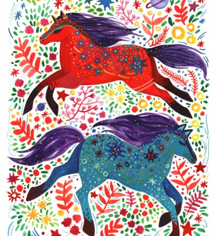 A Horse of Red and Blue Sticker