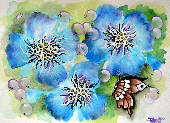 Blue Pansy and Butterfly by ApolloniaArt