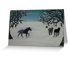 Horses in winter Greeting Card