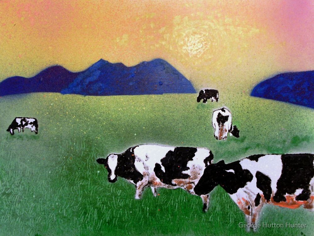 Cows in summer mist by George Hunter