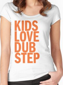 Kids Love Dubstep (orange) Women's Fitted Scoop T-Shirt