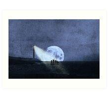 Across The Sea A Pale Moon Rises Art Print