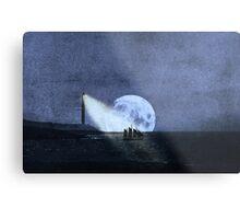 Across The Sea A Pale Moon Rises Metal Print