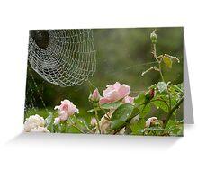 cobwebs, roses and raindrops Greeting Card