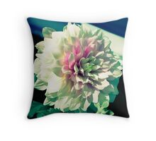 White and Pink Dahlia Flower Throw Pillow