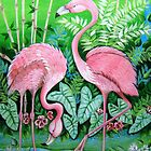 Pink Flamingos by ApolloniaArt