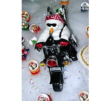 Motorcycle Snowman Photographic Print