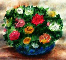 Bouquet of roses in blue bowl, watercolor by Anna  Lewis, blind artist