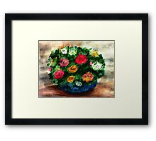 Bouquet of roses in blue bowl, watercolor Framed Print
