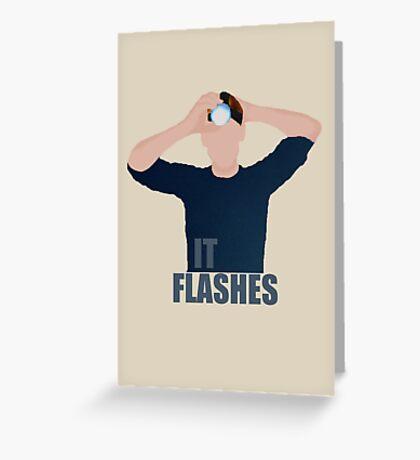 """It Flashes!"" Tom Hiddleston Head Torch Greeting Card"
