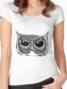 Giant eyes Owl 1  Women's Fitted Scoop T-Shirt