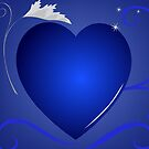 blue heart background by Marishkayu