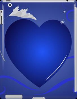 blue heart background by Marishkayu