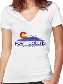 Fort Collins Colorado wood mountains Women's Fitted V-Neck T-Shirt