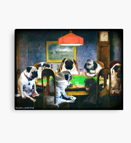 PUGS PLAYING POKER Canvas Print