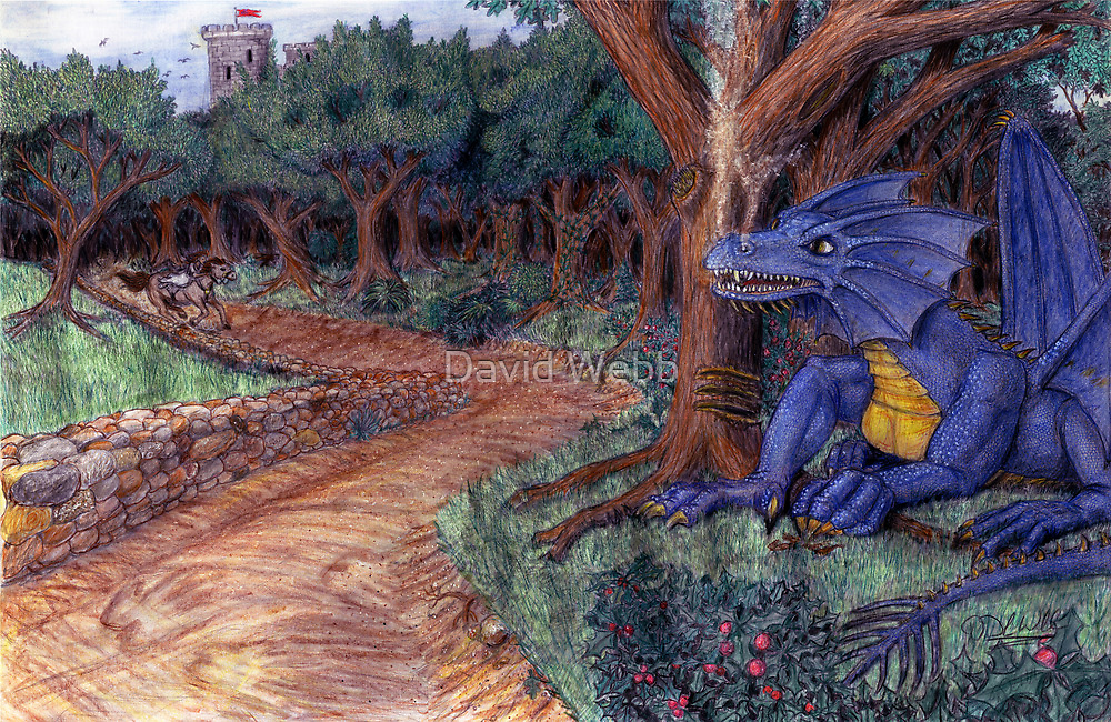 Lying In Wait - Dragon and Maiden by David Webb