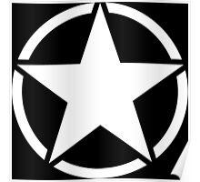 Jeep - Black & White Star Poster
