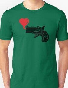 Pistol Blowing Heart Bubbles Unisex T-Shirt