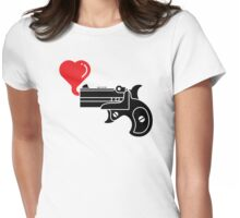 Pistol Blowing Heart Bubbles Womens Fitted T-Shirt