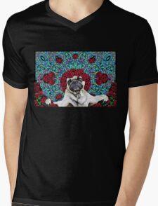 GRATEFUL PUG Mens V-Neck T-Shirt