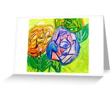 Neon Roses Greeting Card