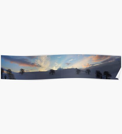 Sky and Snow Scene in the Hills of Llanfyllin, Powys Poster