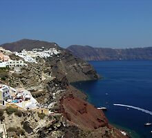 The town of Oia Santorini looking over the caldera by Kawka