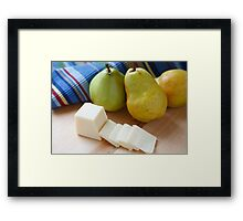 Sliced Cheese and Bartlett Pears Framed Print