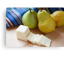 Sliced Cheese and Bartlett Pears Canvas Print