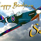 Supermarine Spitfire - Happy Birthday Son card by Dennis Melling