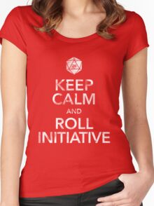 Keep Calm and Roll Initiative (White Text) Women's Fitted Scoop T-Shirt