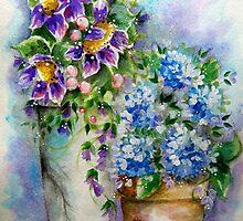 Purple Sunflowers Blue Hydrangeas by ApolloniaArt